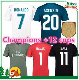 Wholesale Anti Green - 17 18 madrid Jersey Benzema Ronaldo ASENSIO football Soccer Modric Kroos Sergio Ramos Bale Marcelo james Madrid 2017 2018 Real shirts
