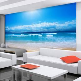 Wholesale Beach House Wall - fumei Customize photo wall paper non-woven wallpaper for living room bedroom ocean sky ocean beach wall mural wallpaper roll