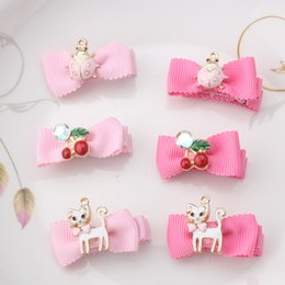 Wholesale Cat Hair Ribbon - Wholesale- New Style Hot Sale Girl Crown Rhinestone Hair Clip Star Cat Ribbon Children Tiara Barrette Accessories Cherry Headwear Hairpin
