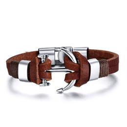 Wholesale Anchor Jewelry Charms - Men's Leather Bracelet Jewelry Pirate Style Alloy Anchor Bracelet For Male JoyerIa Anclas Pulsera & Brazalete BL-109