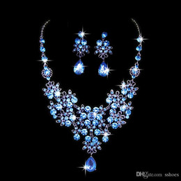 Wholesale Wholesale Bridal Wedding Rings Sets - Water Drop Crystal Rhinestone Necklace Earring Sets Wedding Party Bridal Jewelry Set Women Girl Party Accessories