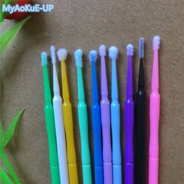 Wholesale Mascara For Extension - Eyelashes Makeup Tools 10 Colors 1000 Pieces Lot Disposable Micro Brushes Individual Applicators Mascara For Eyelashe Extension