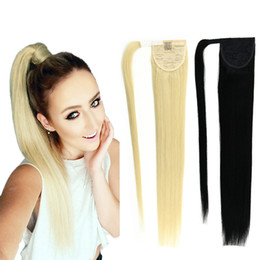 Wholesale Human Hair Straight Drawstring Ponytail - 8A Ponytail Human Hair 120g Blonde 613 60 22Brazilian Virgin Human Hair Ponytail Extensions Clip In Ponytails Human Hair Drawstring Ponytail
