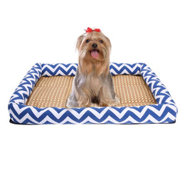 Wholesale Rattan Seat Cushions - Cool Pet Kennel Cooling Mat Summer Breathable Resisting Dog Cat Bed Cushion with Rattan Seats For Small Dogs Cats M L (Blue)