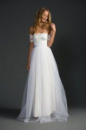 Wholesale Top Beautiful Wedding Dresses - 2017 Beautiful Soft Tulle over Satin A-Line Beach Wedding Dresses Off the Shoulder Lace Top and Tulle skirt vestido de noiva Bridal Gowns