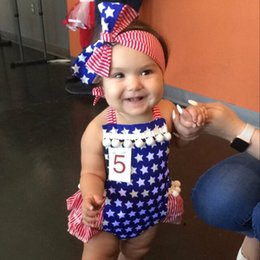 Wholesale Flag Romper - Hot Newborn Tassel Romper Clothes Baby Girl American Flag Ruffle Skirted Kids Jumpsuit Outfit