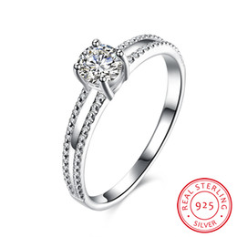Wholesale Wholesalers Diamond Rings China - 100% Real 925 Sterling Silver Jewelry Women Wedding Ring Inlaid Stone Zircon Lady Imitation Diamonds Ring Engagement Ring Fine Jewelry Gifts