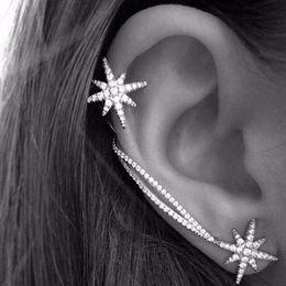 Wholesale Ear Cuffs For Women - Tomtosh Fashion Women Punk Gothic Snowflake Rhinestone Clip Ear Cuff Wrap Stud Earrings Earrings For Women Jewelry