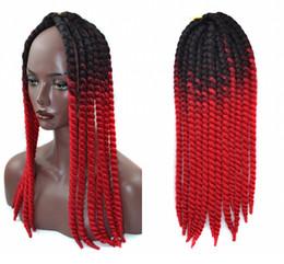 crochet hair 12 inch Sconti Ombre Uncinetto Treccia capelli 22 inch 120 grammi / pezzi, Senegalese Afro Twist Trecce Capelli 12 Radici Bulk treccia estensione dei capelli