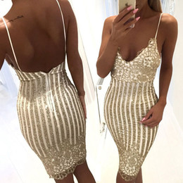 Wholesale Lilac V Neck Bodycon Dress - 2017 Sexy Champagne Sequined Dress Bodycon Cocktail Party Dress Spaghetti Backless Little Knee Length Homecoming Prom Dresses