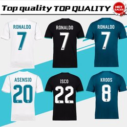 Wholesale Real Gold Men - New Real Madrid Home white Soccer Jersey 17 18 CR7 Away black soccer shirt 2018 Ronaldo third Football uniforms Asensio Isco Kroos sales