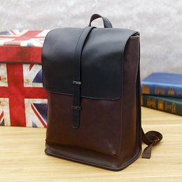 Wholesale Retro Fashion School - new retro male package of high quality leather men backpack retro business mens casual school bags of leisure and Fashion Institute wind bag