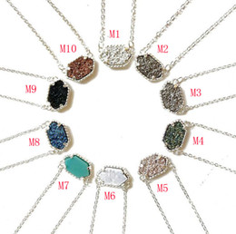 Wholesale Wholesale Fashion Druzy Jewelry - 2017 New Glitter Druzy necklaces Jewelry For women 10 colors Gold&Silver Plated Drusy Geometry Stone Pendant Necklace For Girls Fashion