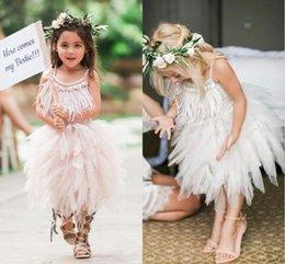 Wholesale Tassel Graduation Dress - 2017 Cute Tulle Tassels Flower Girl Dresses for Wedding Straps Square Neckline Girls Pageant Dress Tea Length Kids Party Gowns