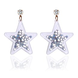 Wholesale Sequins Earrings - 2017 new Crystal Mosaic Fashion lovely personality dangle earring punk sequins star drop earrings for women jewelry wholesale free shipping