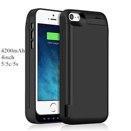Wholesale Extended Battery Pack - Extended Rechargeable Battery Case for iPhone 5 5c 5s 4200mAh USB Power Bank Capacity Backup Charger Case Pack