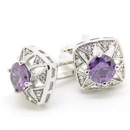 Wholesale Purple Cufflinks Crystal - Cufflink Purple Crystal with Black Bag Luxury Cufflink Silver Cuff Links Wholesale Factory Discount Personalised Cufflink UK 550068