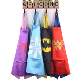 Wholesale Costumes For Kids Free Shipping - Kids Cape 70*70 cm Size Superhero Cartoon Cape for Children Cosplay Costumes Play for Fun Wears Clothing Free Shipping