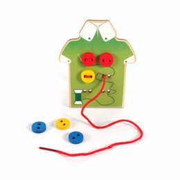 Wholesale Sewing Buttons Kids - Wholesale- 1Pc Kids Educational Toys Children Beads Lacing Board Wooden Toys Toddler Sew On Buttons Early Education Teaching Aids Gift