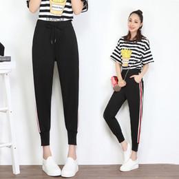 Wholesale Casual Clothes For Women Sport - Lulu Fashion Woman Clothes Women Sweat Pants Elastic Waist Black Side Stripe Drawstring Zipper Leg Open for Leisure or Sport