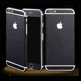 Wholesale Iphone Protective Skins - For iPhone 7 6 6s plus Textured Leather Skin Sticker Wrap Sticker Decal with Full Body Decal Wrap phone protective retail package