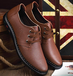 Wholesale Men Groom Shoes - New style groom dress shoes men cool leather shoes Hollow out breathable lace-up sandals Dad driving shoes LX64