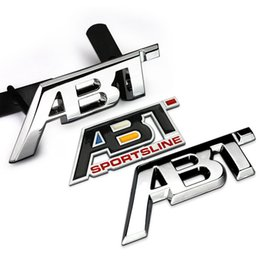 Wholesale Abt Emblem - Metal ABT refit Aluminum car badge auto front grille emblem 3D ABT logo stickers car sticker decal for VW CC Polo passat b5
