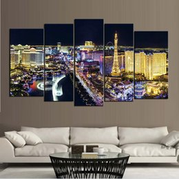 Wholesale Night Life - Night view of Las Vegas City Frameless Paintings 5pcs No Frame Printd on Canvas Picture