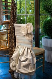 Wholesale Chair Coverings For Weddings - Ivory Taffeta 3D Flowers Organza Chair Sash for Wedding Romantic Wedding Decorations Chair Covers Chair Sashes Wedding Accessories C62