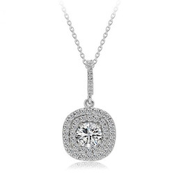 Wholesale Luxury Necklaces Gemstone Pendant - 2017 New Top Selling Luxury Jewelry 925 Sterling Silver Pave Stunning White Sapphire CZ Diamond Gemstones Women Necklace Pendant With Chain