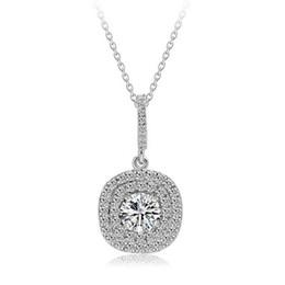 2017 новый топ продажи роскошных ювелирных изделий стерлингового серебра 925 проложить потрясающий белый сапфир CZ алмазные драгоценные камни женщины ожерелье кулон с цепью от