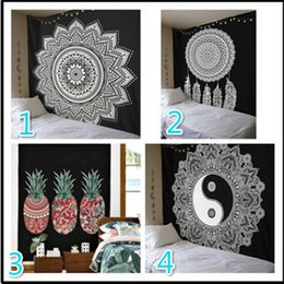 Wholesale Black White Home Decor - 210*150cm Large Black and White Wall Cloth Tapestries Feather Printed Mandala Tapestry Wall Hanging Home Decor Beach Throw Towel