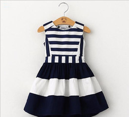 children korean clothing style Promo Codes - 2017 sweet new kids fashion children Korean style clothing sleeveless summer dress girls striped navy wind sling vest dress G157