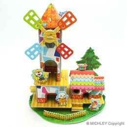 Wholesale Education Toy House - MICHLEY Children Boys Girls 3D Puzzle Jigsaw Foam for Kids Education Windmill Garden Landscape House 1T0162-qicaifengche