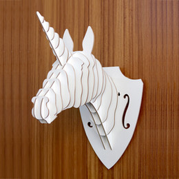 Wholesale Unicorn Head Wall - Yjbetter DIY 3D Wooden Animal Unicorn Head Assembly Puzzle Art Model Kit Toy Home Decoration,wooden wall hanging decorations Christmas decor