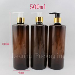 Wholesale Shampoo Plastic Pumps - Wholesale- 500ml X 12 empty brown cosmetic body lotion container with aluminum pump gold lotion shampoo bottle cosmetic packaging container