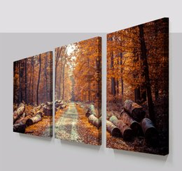 Wholesale Wall Art Wood Panels - Large Modern 3 Panels Woods Forest Road Landscape Giclee Canvas Print Wall Art Work to Hang For Living Room Home