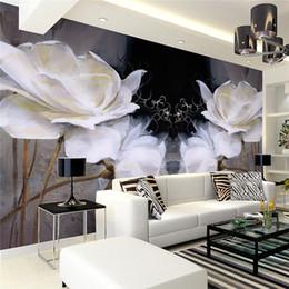 pintura a óleo fundo preto Desconto Quarto europeu TV fundo papel de parede murais de parede moderna simples pintura a óleo Europeia sem costura não-tecidos preto quente magnólia flores