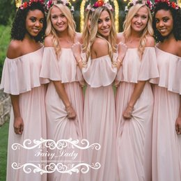 Wholesale Light Blue Long Bridal Dress - Off Shoulder Pink Bridesmaid Dresses Floor Length 2017 Women A Line Cheap Beach Boho Style Party Bridal Gowns