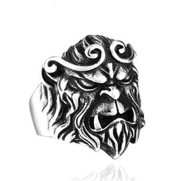 Wholesale Ring Men King - New Design TV Play Journey To The West Style Ring Personality Monkey King Jewelry Stainless Steel Men Jewelry