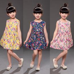 Wholesale Vintage Cute Dress Style - INS Cherry Lemon Cotton Dress Girls Floral Beach Dress Cute Baby Summer Halter Kids Vintage Fruit Flower Bohemian Dress