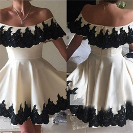 Wholesale Knee Length Womens Formal Shorts - Cheap Price Prom Dresses Black Lace Applique Off Shoulder A-Line Cocktail Party Dress Sleeveless Knee Length Womens Formal Gowns