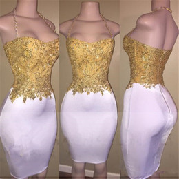 Wholesale Hater Fitted - 2017 Newest Gold Beads Short Mini Fitted Prom Party Dresses 2K17 Sleeveless Hater Backless Cocktail Dresses Cheap Celebrity Evening Gowns