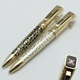 Wholesale Ballpoint Logo - Luxury KORLOFF ballpoint pen Gold Embossed Barrel and engrave logo office&school supplies pens