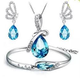 Wholesale Crystal Earrings Tear - FASHION JEWELRY Angel Tears Austrian crystal jewelry sets for women girls High quality necklace bracelet earrings 3 pieces set free shipping