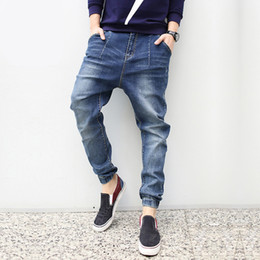 Wholesale Cheap Cross Clothing - Wholesale-Man Casual Jeans Plus Man Loose Skinny Denim Long Pants Trousers Man Brand Fashion Denim Hip Hip Cross-pants Cheap Man Clothing