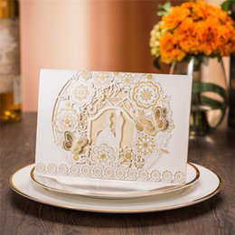 Wholesale 3d Greeting Cards Supplies - Sample Laser Cut Bride and Groom Marriage Wedding Invitations Cards Greeting Cards 3D Cards Postcard Event Party Supplies