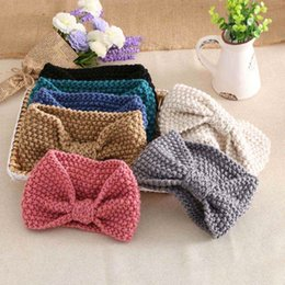 Wholesale Ear Head Wraps - 1 PC Women Lady Crochet Bow Knot Turban Knitted Head Wrap Hairband Winter Ear Warmer Headband Hair Band Accessories