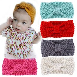 Wholesale Crochet For Hair Bows - Cute Kids Girl Baby Toddler Crochet Bow Headband Hair Band Accessories Headwear 7 Colors For Choosing