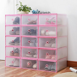 Wholesale Transparent Plastic Shoe Storage Boxes - 4PCS M Size Shoes Wrapped Plastic Storage Box Drawer Type Transparent Plastic Shoes Box Drawer Storage